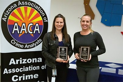 Criminal Intelligence Analyst Erin Wickersham and Criminal Intelligence Specialist Alyssa Ginter won the AACA Innovators of the Year Award