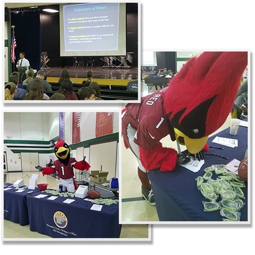 Bully Free AZ Event Photos: MCAO staff presenting to a packed auditorium, Cardinals' Big Red helping out and pledging to be Bully Free